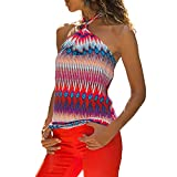 Sale Women Shirts Casual Retro National Style Sleeveless Hanging Neck Tee Blouse Shirt Tops Pink