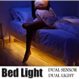 Bed Light with Motion Active, Dual Flexible LED Decoration Strip Light for Bedroom Stair Sofa Roof Night Light, Dual Motion & Light Sensors with Automatic Shut-off Timer, Two 5ft LED Strips, Warm Soft Glow - JVR LH29