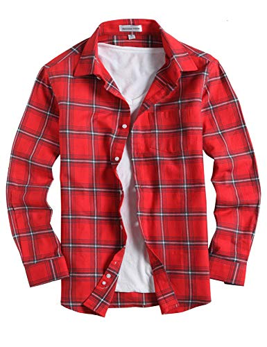 Menswear House Mens Casual Button Down Plaid Shirt Long Sleeve Cotton Regular Fit Dress Shirts (Flannel-red, XXL) (For Flannel Dress Shirts Men)