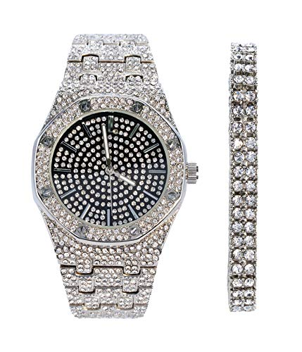 Mens Silver with Black Face Octagonal CZ Watch with 2 Row Tennis Bracelet | Japanese Movement | 2 Piece Gift Set | Free Gift Box Included (Two Set Pave Row)