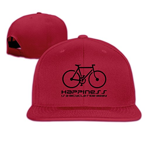 BASEE Happiness Is A Bicycle Ride Away Adjustable Flat Along all Cap Red ()