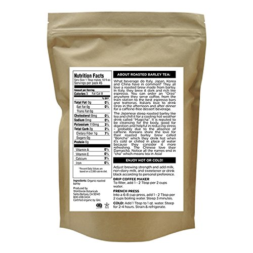Worldwide Botanticals, Delicious Coffee Substitute, Organic Roasted Barley, Caffeine free, Acid free, AKA Orzo, Mugicha, Boricha, Damaicha, All-Purpose Filter Grind, 1 lb. (454g) by Worldwide Botanicals