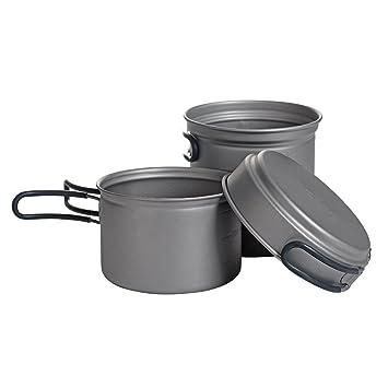 XOT titanio batería de cocina (ligero antiadherente - Ollas y Camping senderismo picnic utensilios de cocina Set, Set: Amazon.es: Deportes y aire libre