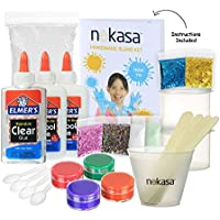 Kids DIY Slime Making Kit - Slime Supplies Set for 5 Slime Types: Glow in the Dark, Glitter, Foam Ball, Colored, Clear, and Regular Slime - With Instructions, Mixing Bowl and Storage Containers