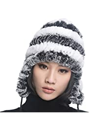 URSFUR Women's Rex Rabbit Fur Hats Winter Ear Cap Flexible Multicolor