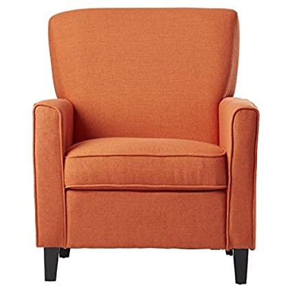Armchair Ashbaugh Collection Contemporary Style With Sturdy Legs And  Upholstered Fabric In Orange