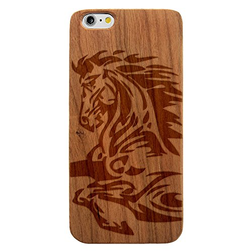 JewelryVolt Wooden Phone Case for iPhone 6 or iPhone 6s Cherry Wood Laser Engraved Animal Tribal Native Bronco Mustang Horse