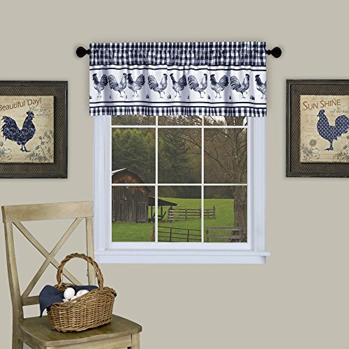 Country Rooster Checkered Kitchen Curtain Plaid Valance (58x14, Navy)