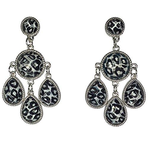 Trendy Animal Print Pattern Dangle Earrings (Snow Leopard)]()