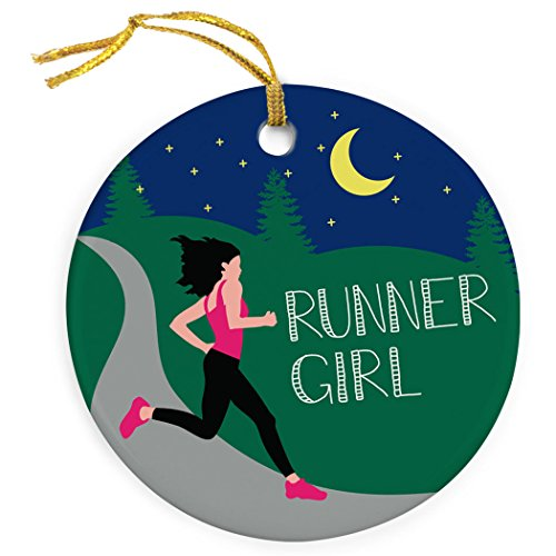 Gone For a Run Running Porcelain Ornament | Runner Girl Christmas Ornament (Runner Christmas Ornament)
