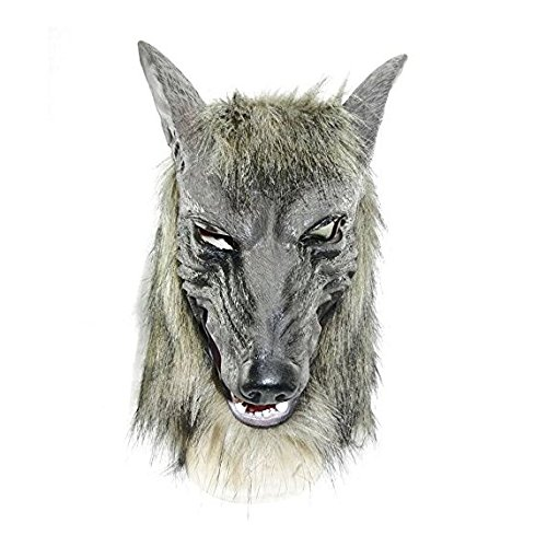 Gloves Devil Costume Accessory - Halloween Wolf Mask Wolf Claw Gloves Scary Mask Dress Accessory Werewolf Horror Latex Mask for Adult (Head mask)