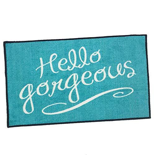 Hello Gorgeous Welcome Door Mat - Teal - 2x3 -