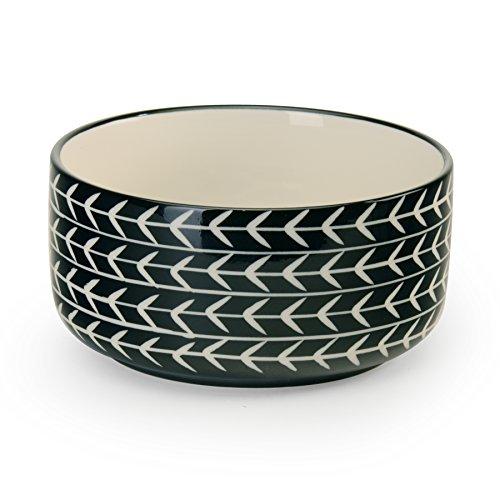 (Signature Housewares Glazed Stoneware Pet Bowls (Black Arrow,)