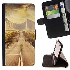 - Road scenery - - Monedero PU titular de la tarjeta de cr????dito de cuero cubierta de la caja de la bolsa FOR Sony Xperia m55w Z3 Compact Mini RetroCandy