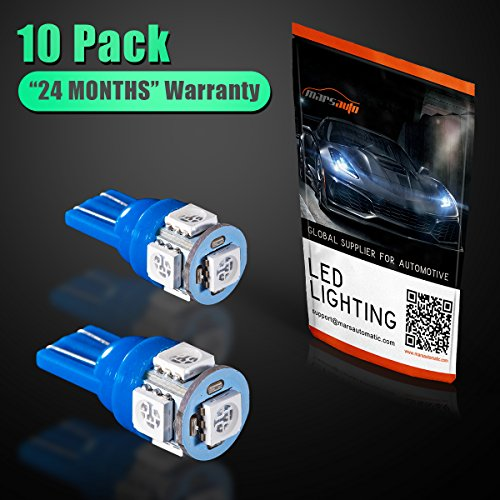 Marsauto Blue T10 194 168 Bright Instrument Panel Dashboard LED Light Bulbs No-polarity 2825 5SMD Dome Map License Plate Lights Lamp 12V (Pack of 10) by Marsauto (Image #6)