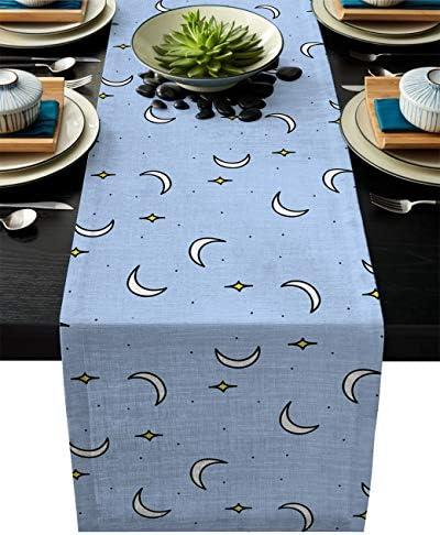テーブルランナー 青い 星 月 テーブルクロス モダン 北欧風 プレースマット レストラン用 滑り止め 上品 断熱 食卓飾り お食事マット おしゃれ インテリア 33x178cm