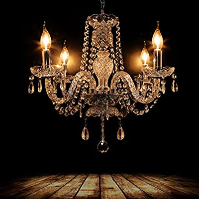 Ridgeyard 4 Lights Modern Luxurious K5 Crystal Chandelier Ceiling Light Fixture Pendant Lamp Living Room Lighting for Villa Dining Room Bedroom Hallway Foyer 17.3 Inch x 19.7 Inch