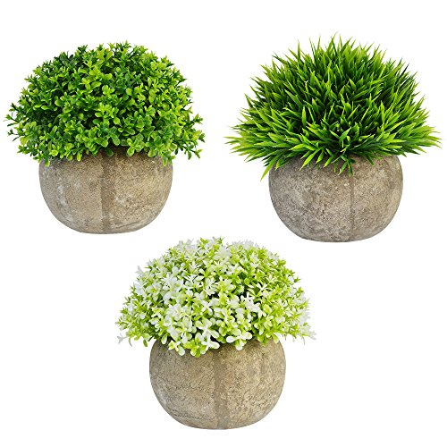 Bantoye 3 Packs Artificial Plastic Mini Plants, Faxu Topiary Plants with Pots for Home Office Weddings Decoration by Bantoye