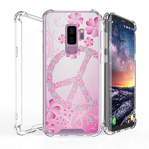 Galaxy S9 Plus Case, AquaFlex transparent Clear Hybrid Bumper Case Cover Samsung Galaxy S9 Plus (Flower Peace Sign)
