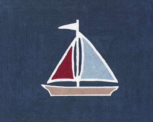 Sweet Jojo Designs Nautical Nights Sailboat Accent Floor Rug