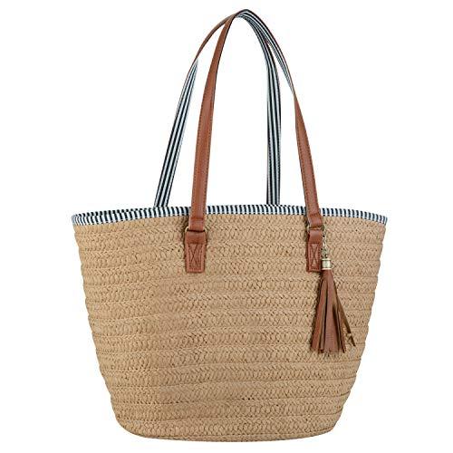 (COOFIT Straw Beach Bag Pompom Shoulder Bag Summer Woven Bags Tassel Bags (Light Brown))