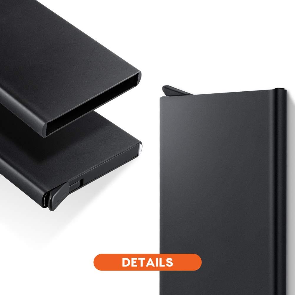 Lungogo RFID Credit Card Holder Minimalist Slim Wallet Front Pocket Card Organizer Automatic Pop Up Design Aluminum Metal Holds 5 Card (Black) by LUNGOGO (Image #3)
