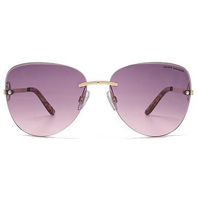 Kurt Geiger Bevel Edge randlose Sonnenbrille im Matt Gold Schildkröte KGL017 One Size Grey Pink Gradient WHdX8q