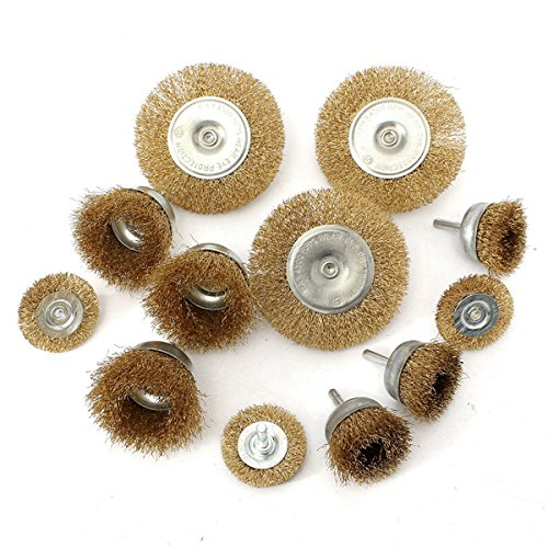 12pcs Wire Wheel Brush Cup and Flat Crimped Steel Drill Attachment Brushes Sanding Set Isali