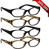Reading Glasses 4 Pack 2 Black & 2 Tortoise _ Always have a Stylish Look & Crystal Clear Vision When You Need It! _ Comfort Spring Arms & Dura-Tight Screws _ 100% Guarantee + 2.25