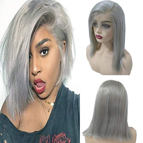 13x6 Human Hair Bob Wigs Side Part Lace Front for Black Women Deep Part Pre Plucked Grey Bob 150% Density Perfectly Lace Front Grey Bob Wig 12