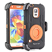 Shockproof S5 Case,Galaxy S5 Case,Samsung Galaxy S5 Case,Belt Clip Shockproof Drop Proof Heavy Duty Rugged Soft Silicone And PC Hybid Dual Layer Holster Case with Kickstand for Samsung Galaxy S5 i9600 SV GS5 (Black Orange)