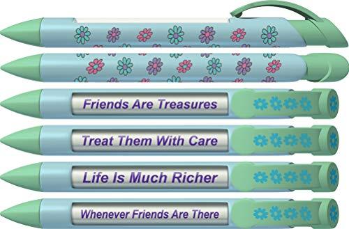 Greeting Pen Daisy Best Friend Gift/Favor Rotating Message 6 Pen Set 36552 (Pen Rotating Message)