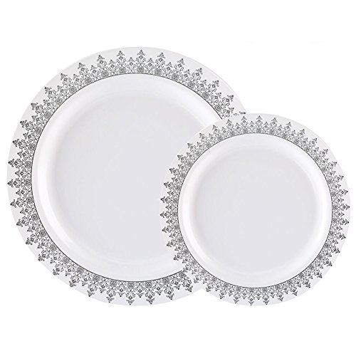 60PCS Heavyweight White with Silver Rim Wedding Party Plastic Plates,Disposable Plastic Plates,30-10.25inch Dinner Plates and 30-7.5inch Salad Plates -WDF (White/Silver Forest) -