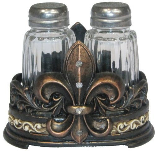 Fleur De Lis Salt & Pepper Shaker Set with Glass Shakers - Tuscan Creole Decor