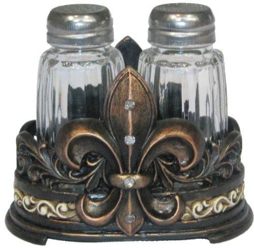 Fleur De Lis Salt & Pepper Shaker Set with Glass Shakers - Tuscan Creole Decor