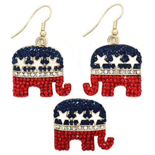 GOP Republican Elephant Democratic Party Donkey Earrings Brooch Pin Set (Elephant Gold-tone)