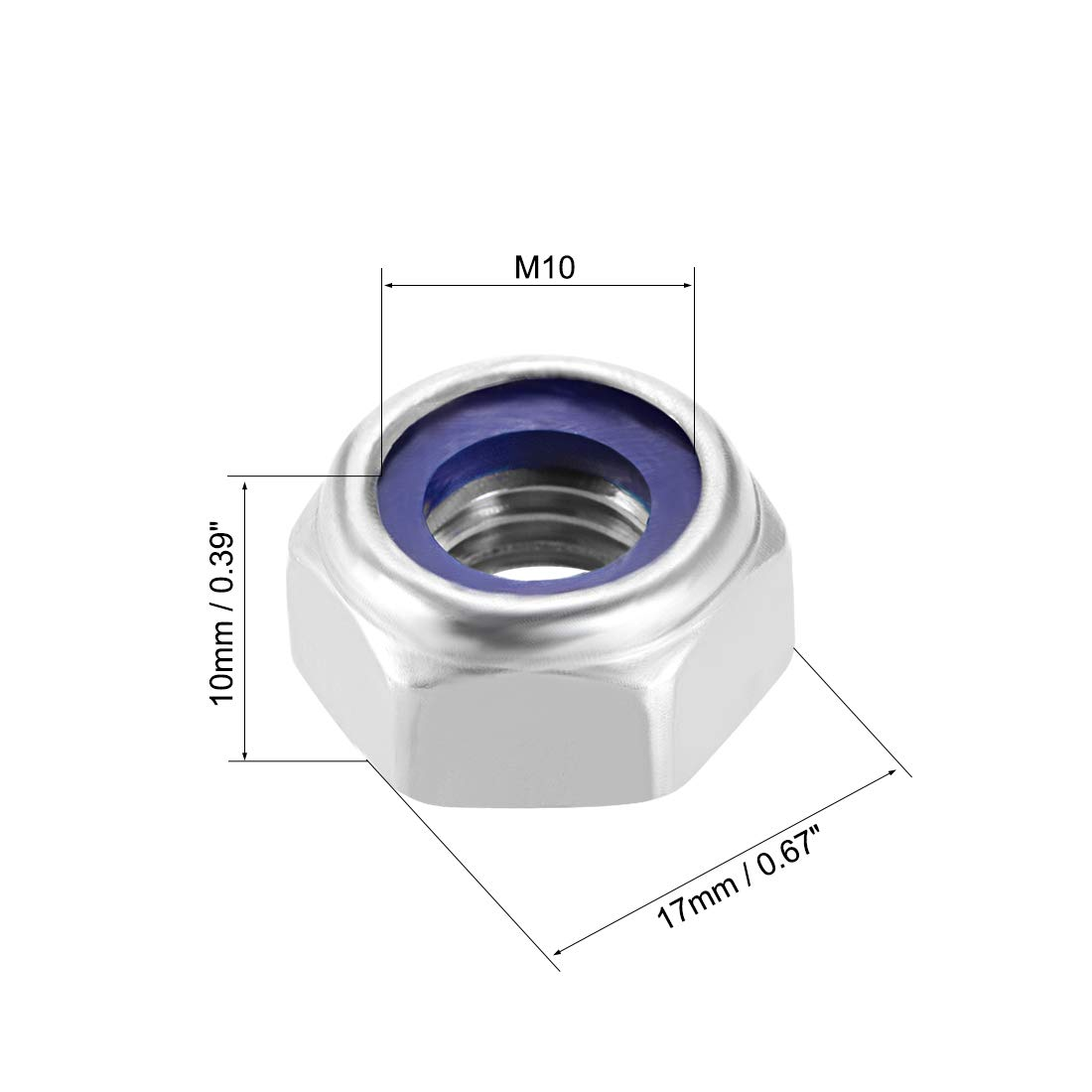 Pack of 10 Plain Finish uxcell M8 x 1.25mm Nylon Insert Hex Lock Nuts 316 Stainless Steel
