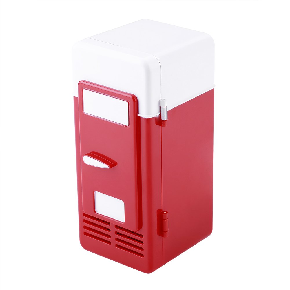 LED Mini Refrigerator USB Drinks Beverage Cans Refrigerator and Heater (Red)
