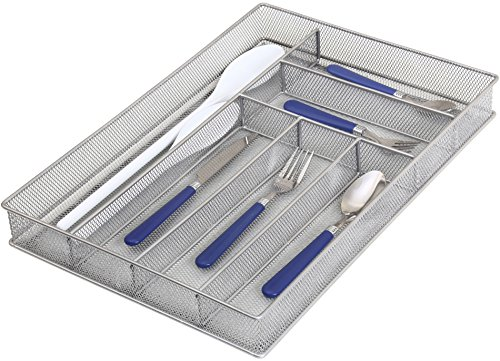 Ybm Home Silver Mesh Cutlery Holder In-drawer Utensil Flatware Organizer/tray Size 16 By 11-1/4 By 2 Inches 1132 (6-compartment Large)
