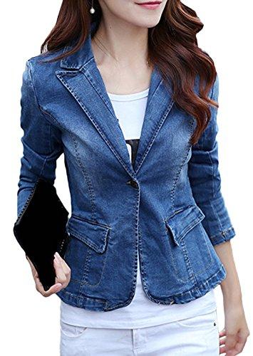 b9d3fccc92dd Trenchcoat Jeans Jacke Damen Business Frühling Jack Outwear Jeansmantel  Übergangsjacke Denim Slim Vintage Blazer Kurz Bevalsa Mantel pY7wSq