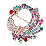 Fashion Jewelry Elegant Swarovski Elements Crystal Colorful Peacock Brooch Pin Champagne Gold Plated