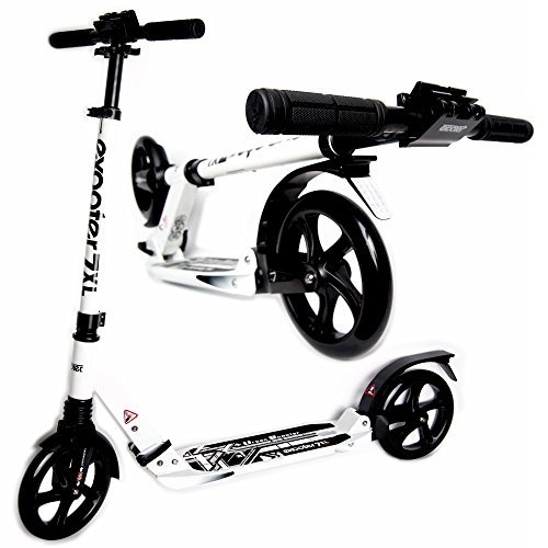 Exooter M1050wt Foldable Teen and Adult Cruiser Kick Scooter with Double Suspension in White.