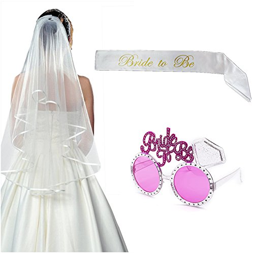 - Elegantday Bachelorette Party Kit Wedding Set 3PCS (White Double Ribbon Edge Center Cascade Wedding Veil with Comb+Satin Sash+Glasses Eyewears)