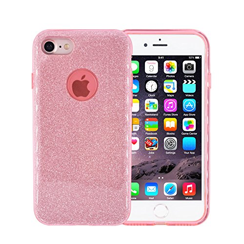 Glitter iPhone 7 Plus Case, FACEVER Crystal Bling Design Soft Silicone + Hard Plastic Shining Full Side Protection Case Cover For Apple iPhone 7 Plus 5.5 inch (Pink)