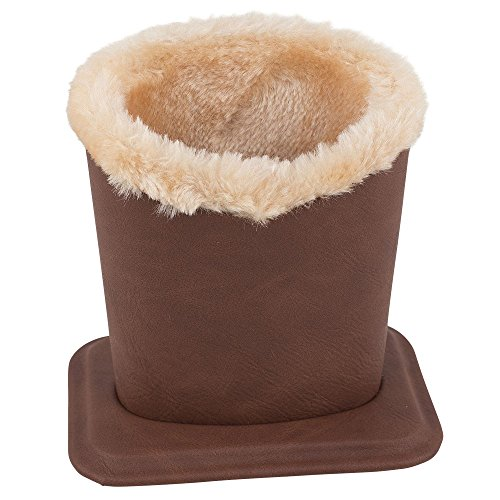 Upright Eyeglass Holder & Stand - Jumbo Sized Plush Lined Protective Case for Nightstand, Desk and Bedside Table - Brown - By - Find Eyeglasses