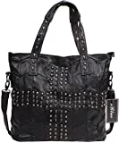 Iblue Womens Lambskin Skull Studded Satchel Tote Handbag Messenger Bag 13.5in #1067