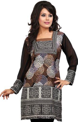 Indian Top Túnica Para Mujer Kurti Impreso Blusa India Ropa Marrón