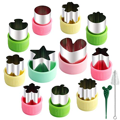 Youliya 11 Pcs Stainless Steel Cookie & Vegetable & Fruit Cutters Shapes Sets, Mini Cookie Stamp Mold, Sandwich Cutters for Kids Baking, Bento Box and Food Decoration Tools (with Pick Fork and Brush)