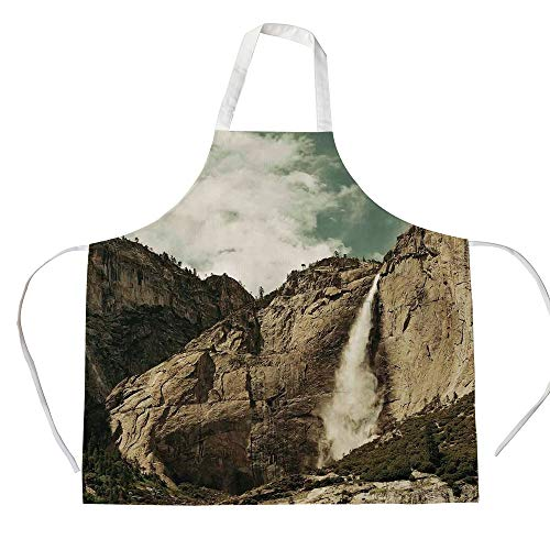iPrint Cotton Linen Apron,Two Side Pocket,Yosemite,Waterfalls in Yosemite National Park California Famous Travel Destination,Brown Reseda Green,for Cooking Baking Gardening]()