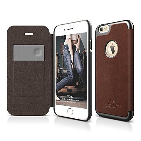 iPhone 6S Plus Case, elago [Leather Hole Flip] - [Card Slot][Screen Protection][Premium Hybrid Construction] - for iPhone 6/6S Plus (Brown / Metallic Dark (Phone Covers For Iphone 6 Elago)